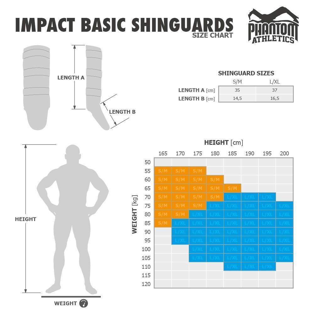 Phantom Impact basic säärisuojien kokotaulukko